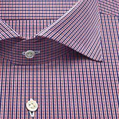 綿100,チェック,rge,ブルー,チェック,パターンオーダー,PTODR綿 100%| パターンオーダーシャツ 赤 × ブルー
