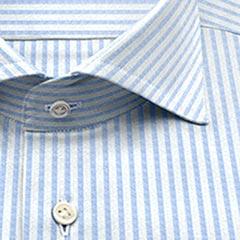 TC,ストライプ,ブルー,blc,ストライプ,パターンオーダー,PTODR綿 50% ポリエステル 50%|形態安定 パターンオーダーシャツ サックス × 白ドビー